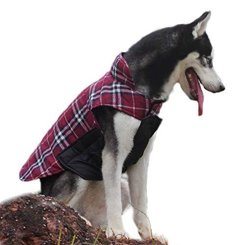 ThinkPet Britischer Stil Plaid Wendbare Hundejacke in kalte Winter für kleine mittelgroße große Hunde, EINWEG Verpackung(Plaid Rot,XXL)