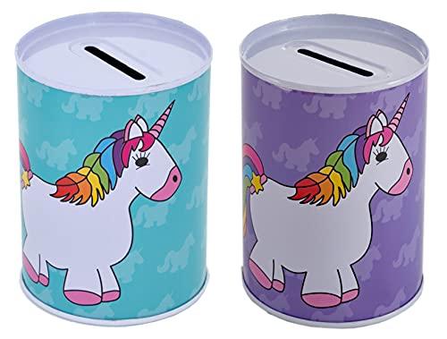 2 huchas pequeñas – Hucha de chapa segura – Cerrado fijo, solo se puede abrir con abrelatas (unicornio)