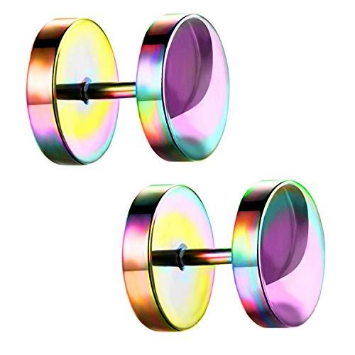 Ditz Damen Herren Ohrstecker Edelstahl Platte mit Kreis zum Schrauben Fake Plug Piercing Ohr Tunnel Doppel Ohrringe Rund Schlicht Rainbow 4mm