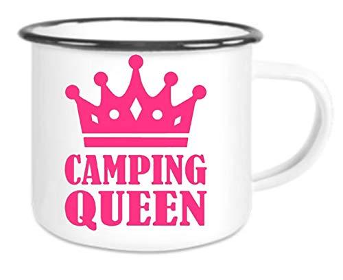 Crealuxe XXL - Emaille Tasse mit Rand Camping Queen - große Kaffeetasse mit Motiv, Campingtasse Bedruckte Email-Tasse mit Sprüchen oder Bildern