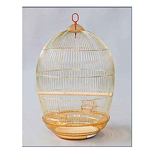 Kit gabbia per uccelli da volo Gabbia per uccelli Cagabbia rotonda Cage Electroplating Parrot Golden Parrot Metal Bird Cage Home Large Lusso Grande spazio 48 × 78 cm Gabbie per uccelli da compagnia