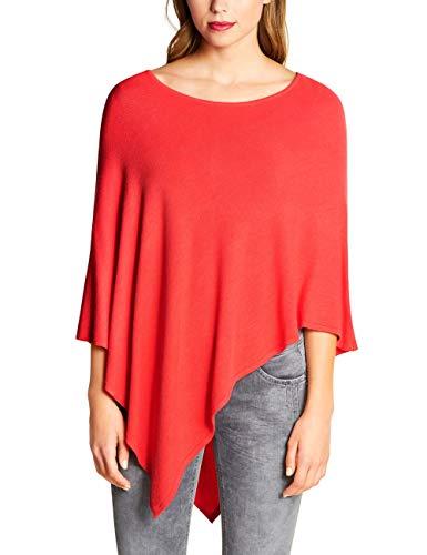 Street One Damen 580442 Feinstrick Poncho, Rot (Bright Coral 11889), One Size (Herstellergröße:A)