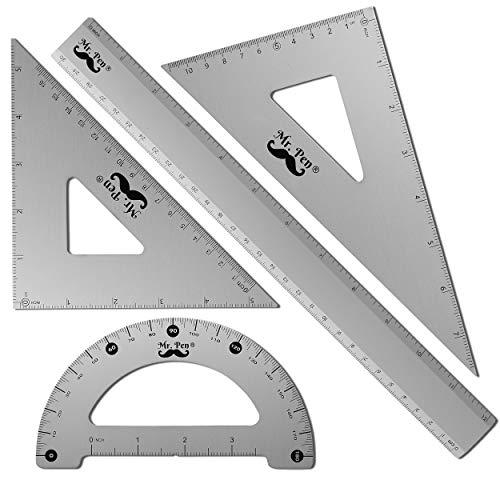 Mr. Pen - Geometry Set, 4 Pack, Metal Protractor, Aluminum Ruler, Metal Set Square, Triangle Ruler, Drafting Triangles, Triangle Ruler, Protractor Metal, Drafting Set, Geometry Kit, Drafting Ruler