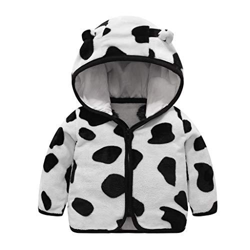 Kids Boys Girls Winter Cute Ear Stripes Cow Skin Print Thick Hooded Coat Warm Jacket 1-6 Years