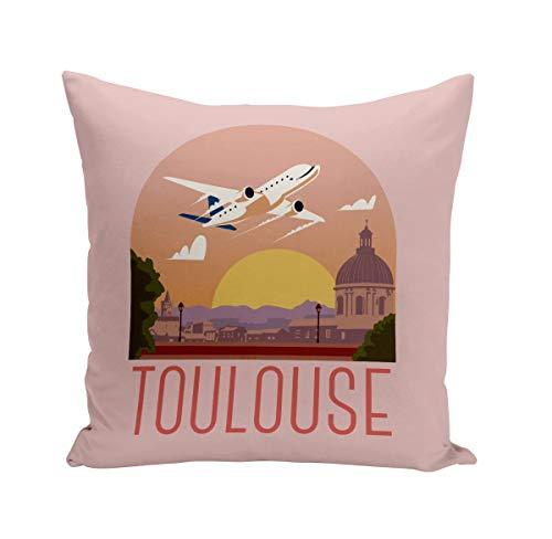 Coussin 40x40 cm Toulouse Paysage Avion Ville France Voyage