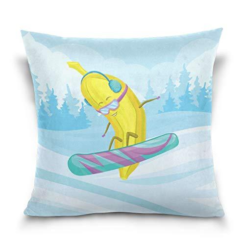 Funny Banana Snowboarden Überwurf-Kissenbezüge aus Baumwolle für Ihr Zuhause, Spielzimmer, Kinderzimmer und andere, 50,8 x 50,8 cm