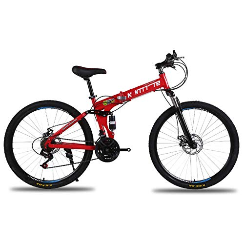 BEIGOO 26inch Folding Bike,Mountain Bike for Adult Teens 21/24/27 Speed Gears Folding Outroad Bike Dual Disc Brake Bicycle-red-24Speed