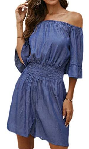 H&E Damen-Jumpsuit, schulterfrei, elastische Taille, kurz Gr. M, Schmuck Blau