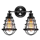 2-Lights Industrial Wall Light Metal Wire Cage Vanity Light Vintage Wall Sconce Lighting, Rustic Farmhouse Style Wall Lamp Fixtures for Bathroom Living Room Kitchen