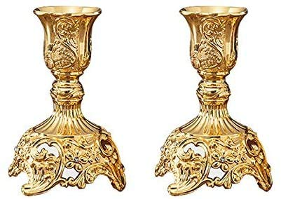 Gold candle holder 2pcs Wedding Gift Metal Candle Holders Candelabra Home Desk DIY Decoration Party Ornaments Gold/Silver Color Candlestick Holders Ronglibai (Color : Size S Gold Color)