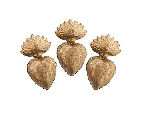 Sacred Hearts, Metal Heart Milagro, Gold Heart Box, Ex Voto, Set of 3
