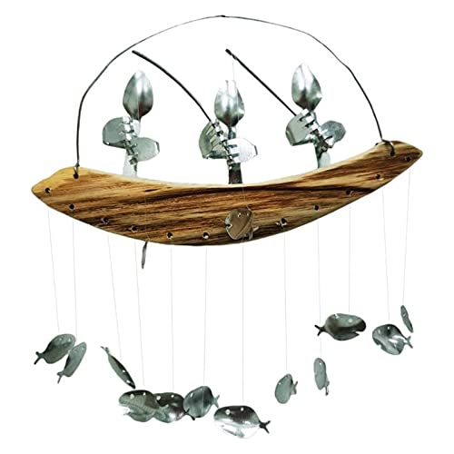 Makluce Larimar Stein Aguamarina, Hombre de Pesca Viento Chime Cuchilla Cuchilla DE PESCURA Escultura DE Viento DE Viento DE LA CHIMEN Colgando DE LA Caliente DE LA Caliente (Color : 3 People)