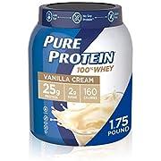 Whey Protein Powder by Pure Protein, Gluten Free, Vanilla Cream, 1.75 Lbs