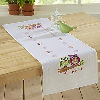 Kamaca Stickpackung VERLIEBTES EULENPAAR Kreuzstich vorgezeichnet - Stickgarn 100% Baumwolle - fertig gesäumt - zum Selbersticken Tischläufer 40 cm x 100 cm