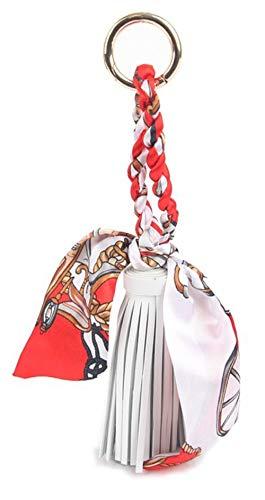 Pretty Silk Like Scarf & Leather Tassels Keychain Silk Scaf Keychain Pendant Handbag Backpack Keyring Purse Pendant Handbag Charm for Women Girl (Sky Blue&White 1)