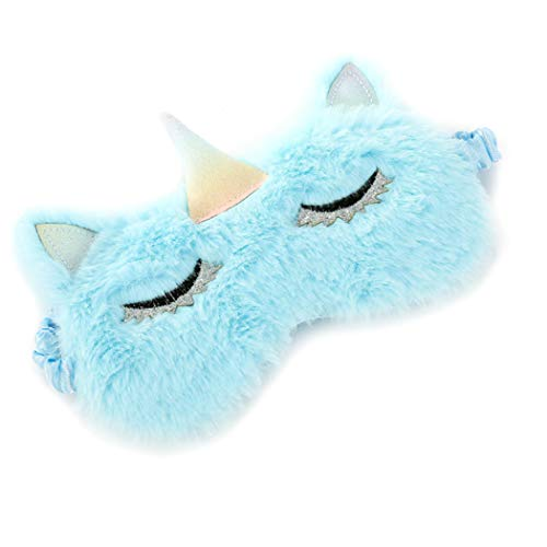 FORLADY Schlafmaske Frauen Unicorn Augenmaske Plüsch Cartoon Shade Augenmaske Shading Für Erwachsene Kind plüsch (Einhorn 2 Eyeliner Blau)