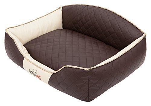 Hobbydog XLELIBBB1 hondenbed/sofa/mand Elite met kunstleer, bruin/beige, XL 84 x 65 x 28 cm