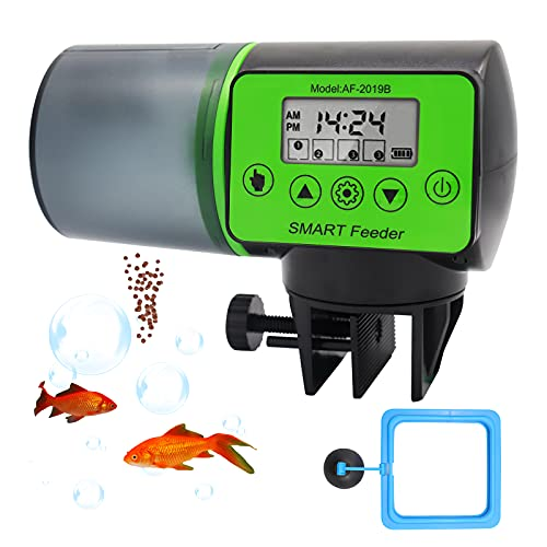 RUIZHI Fischfutterautomat, Fischfutterautomat für Aquarium, Fischfutterautomat mit Zeiteinstellung, geeignet für Aquarium und Fischtank