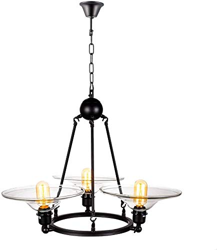3-Light kroonluchter, zwarte antieke hanglamp E27 plafondlamp met glazen kap voor slaapkamer woonkamer restaurant bar keuken