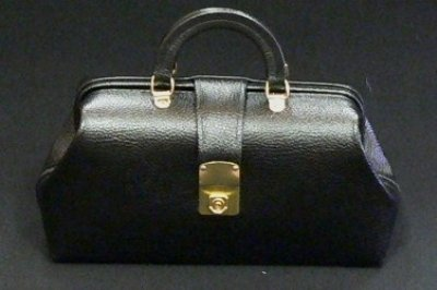 MEDICAL/SURGICAL - Black Leather Specialist Bags With Brass Fittings #1544-12