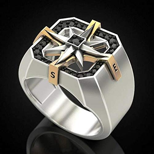 QAZXCV Einzigartiges Design Männer Kreative Weinlese-Ringe Edelstahl AAA Zircon Inlay Zwei Ton-Viking-Kompass-Ring Für Männer Jäten Band,12