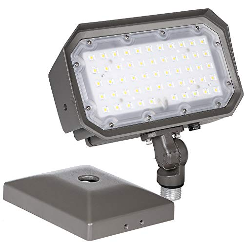 50W LED Flood Light Outdoor with Knuckle Mount, Dusk to Dawn 5000K 6000Lm IP65 Waterproof LED Wall Washer Security Lights for Yard Garden Garage Building Facades
