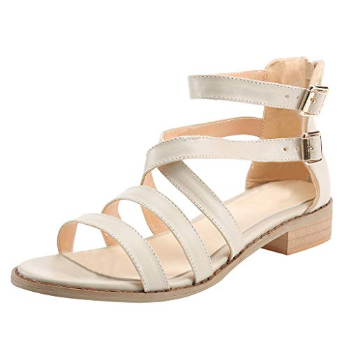 iYmitz Sandalen Damen Schuhe Sommerschuhe Shoes Frauen Schnallenriemen Absatz Elegante Kreuzgurte Sandaletten (Beige,EU-42)