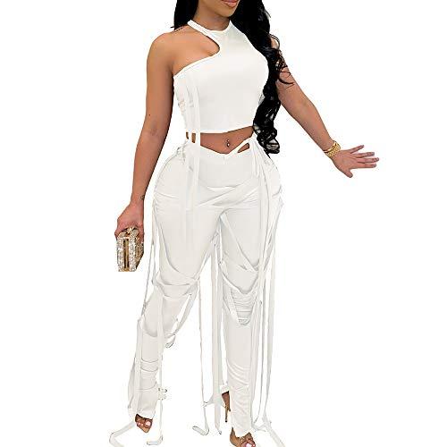 MESLIMA Fashion 2 Piece Outfits for Women - Elastic Sleeveless Irregular Tank Top Bandage Leggings Set Clubwear White M