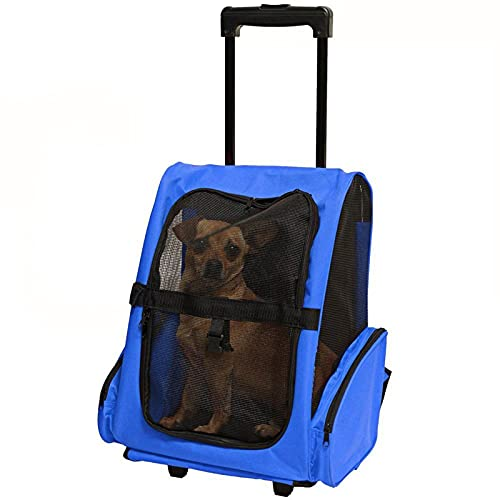 Pet Backpack Trolley, Portable Cat Dog Travel Carrier Case Luggage Box Backpack with Rollers Telescopic Handle-Blue
