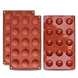 homEdge 2 Silicone a semisfera da 15 cavità Piccola, Confezione da 3 stampi da Forno per Fare Cioccolato, Torta, Gelatina, Mousse a Cupola