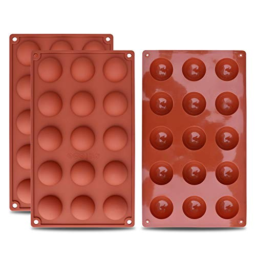 homEdge Molde de silicona semi-esfera pequeño de 15 cavidades, 3 paquetes de moldes para hornear para hacer chocolate, pasteles, gelatinas y mousse de cúpula