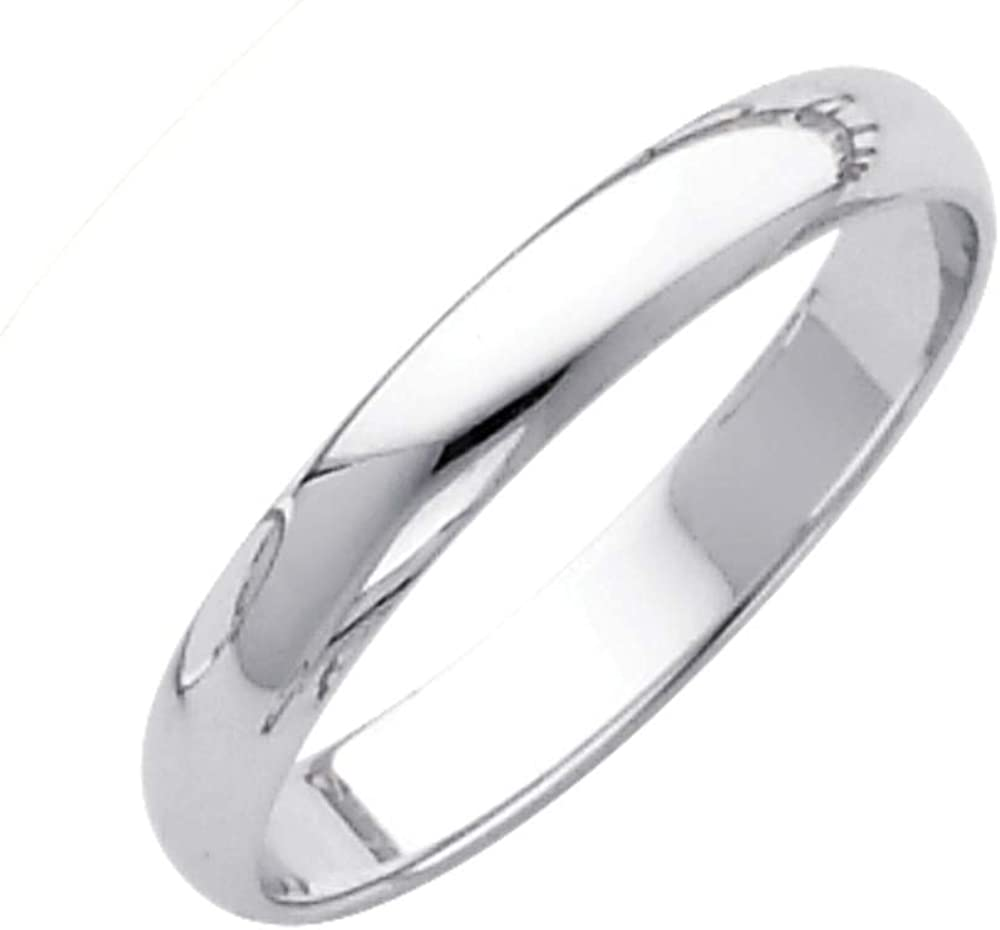 Sonia Jewels 14k Yellow or White Gold 3mm Solid Domed Traditional Comfort Fit Plain Women's Wedding Ring Band