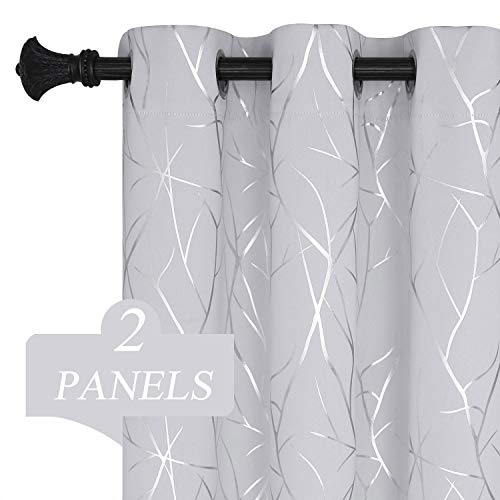 Estelar Textiler Greyish White Curtains 63 Inches Long Thermal Insulated Blackout Room Darkening Curtains Pairs with Branches Pattern for Bedroom 38W x 63L Set of 2 Panels