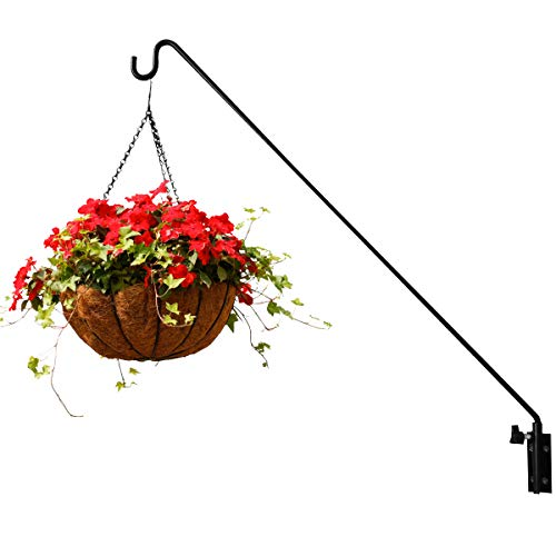 Extended Reach Deck Hook Wall Pole,Wall Mounted Deck Hook Extensible and Adjustable 28 inch to 43 inch Wall Bracket for Hanging Bird Feeder,Plants,Wind Chimes,Lanterns (1 Pack Wall Mounted)