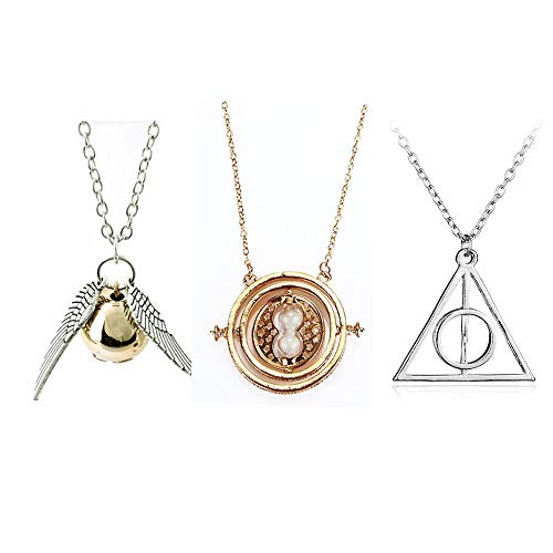 OPENDGO Ensemble de 3 Colliers inspirés Time Turner La Mort Relique Golden Snitch Collier pour Kids Collection De Cadeaux ou Décorations Magique Cosplay Costume