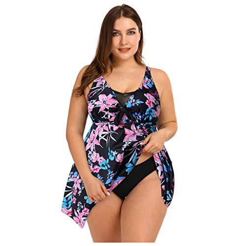 KPILP Plus Size Fashion Swimsuit for Womens Two Piece Tankini Set Boho Swimwear Summer Holiday Beachwear Bathing Suit Oversized Tummy Control Swimdress for LadiesPinkXXL