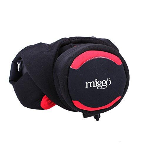 Miggö Grip and Wrap CSC/DSLM 2in1 Neoprenschutzhülle und Handgelenkschlaufe für eine spiegellose Systemkameras mit Objektiv schwarz/rot