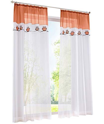 BAILEY JO 1PC Gardine mit Eule Stickerei Vorhange für Kinderzimmer Transparent Voile Vorhang (BxH 140x175cm, orange mit kräuselband)
