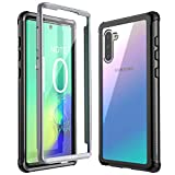 Eonfine Galaxy Note 10 Case, Built-in Screen Protector Heavy Duty Shockproof Rugged Cover Skin for Samsung Galaxy Note 10(Black+Clear)(Fingerprint Unlock with Fingerprint Film)