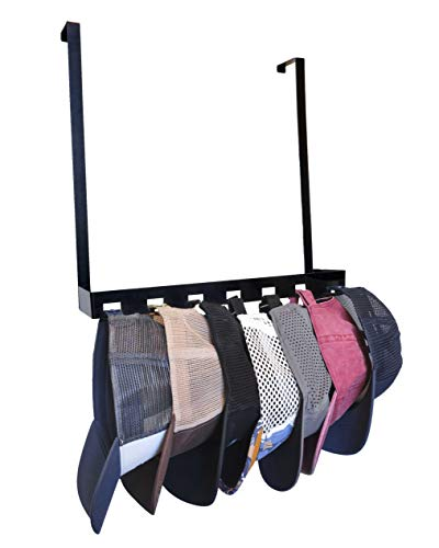 Hat Rail with Over The Door Hooks - Baseball Cap Hanger, Storage and Organizer, Rack Holds 7 Hanging Caps Nested Together - Compact with Easy Access