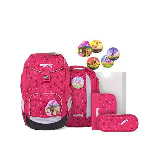 ergobag pack Set - ergonomischer Schulrucksack, Set 6-teilig - HufBäreisen - Pink