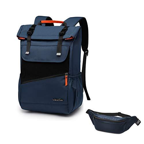 WindTook Rolltop Rucksack Daypack Schulrucksack Fahrradrucksack für 15,6 Laptop, Uni Büro Alltag Herren Damen, Blau und Gürteltasche Blau