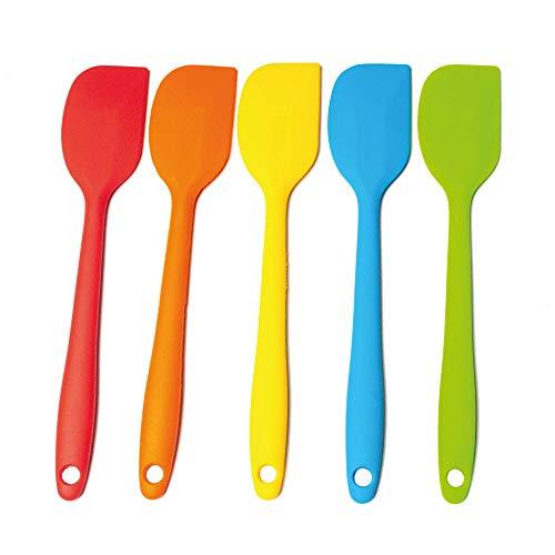 SURUS EQUIPMENT - Spatola Silicone - Set da 5 Pezzi 21 CM - Leccapentole Silicone Multicolore Resistenti Fino a 250°C - Struttura in Acciaio - Rivestimento in Silicone Antiaderente