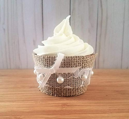 Rustic Cupcake Wrappers, Burlap Cup Cake Holders, Rustic Wedding Cupcake Liners, Fall Bridal Shower Decorations, Rustic Baby Shower Decorations, Wedding Cupcake Wrappers Set of 12 Standard Size