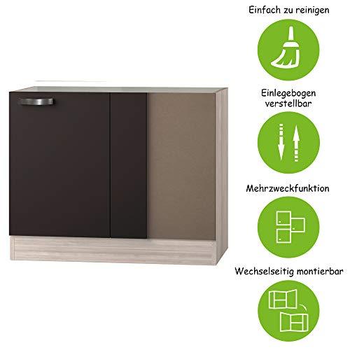 MMR Eckunterschrank Küche DALLAS, ohne Arbeitsplatte, 100 cm breit, wechselseitig montierbare Tür, Grau/Akazie Dekor