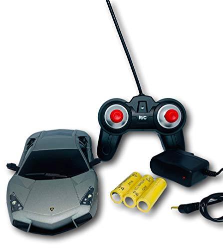 Mz Lamborghini, Coche de Control Remoto Escala 1:24, Con batería Recargable Vehicle, colorGris
