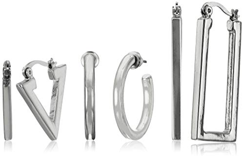 Steve Madden Triangle, Circle, and Rectangle Silver Tone Hoop Earring Set For Women (White), one size (SME451947RH)