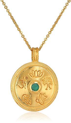 Gold Emerald Mandala Pendant Necklace, 30