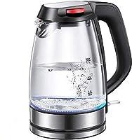 bollitore elettrico in vetro aicok 1.7l bollitore d'acqua in vetro borosilicato con illuminazione a led 2200w bollitore in vetro rapido, filtro anticalcare, spegnimento auto, bpa free
