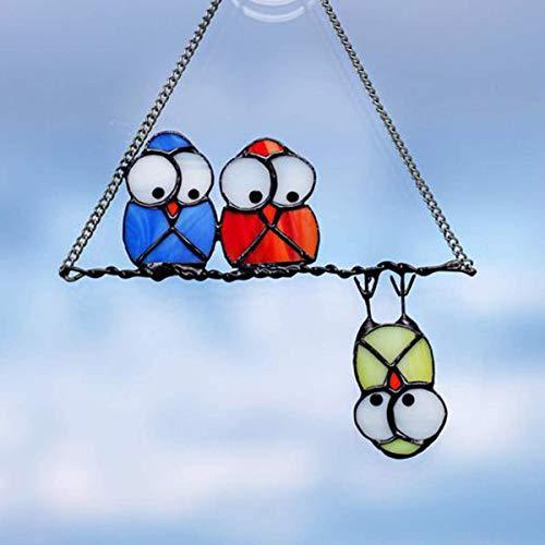Colgantes de Ventana de búhos Personalizado/colorido adorno de pájaro,búho Emotes tablero de metal regalo,Decoraciones Colgantes de pájaro para el jardín del hogar